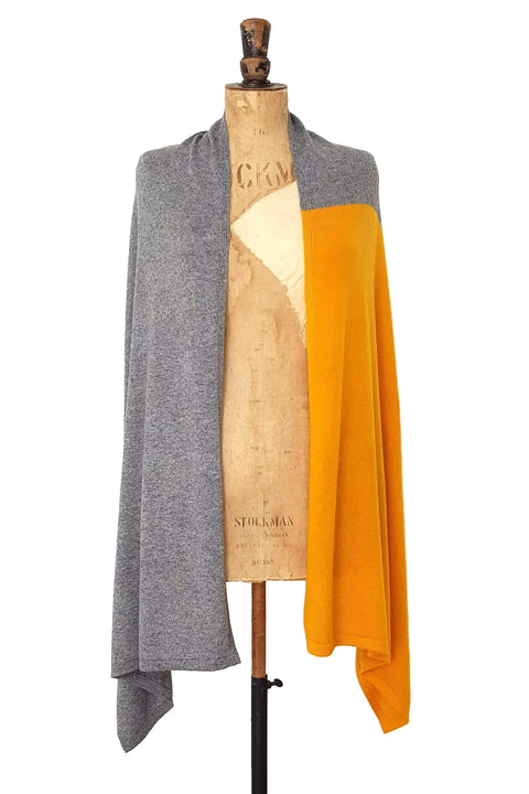 www.thecuriousyak.com Ponchos and Wraps Mustard Yellow & Grey Two Tone Wrap