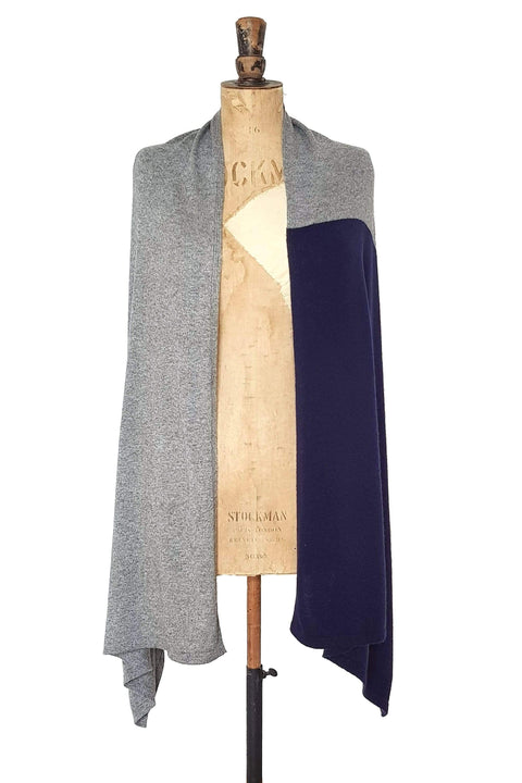 www.thecuriousyak.com Ponchos and Wraps Navy Blue & Grey Two Tone Wrap