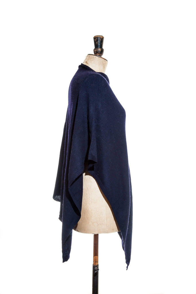 www.thecuriousyak.com Ponchos and Wraps Plain Navy Blue Poncho