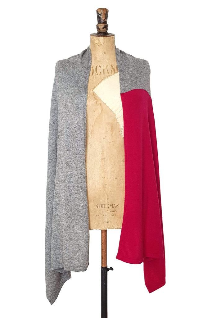 www.thecuriousyak.com Ponchos and Wraps Red & Grey two tone wrap