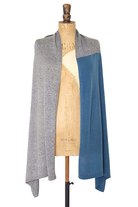 www.thecuriousyak.com Ponchos and Wraps Teal & Grey Two Tone Wrap