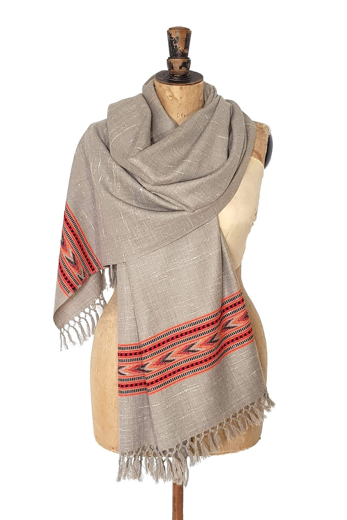 www.thecuriousyak.com Taupe Kulla Handwoven Scarf