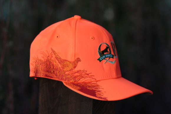 QK Gun Dogs Blaze Orange Embroidered Pheasant Hat