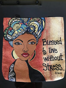 Blessed to live without stress, Woven Tote Bag