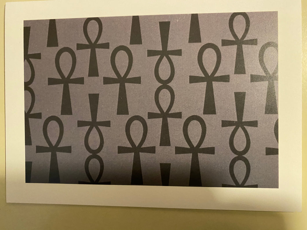 NEW!!! Black Ankh on Gray Blank Note Card
