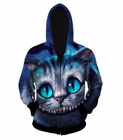Smiley Blue Cat 3D Zip-Up Hoodie - HoodieArt