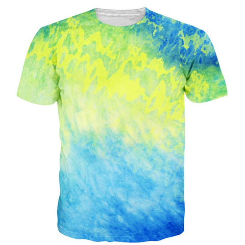 Tye Dye Yellow Blue 3D T-Shirt