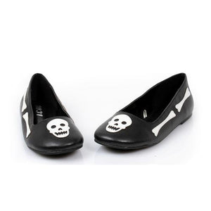 "0"" Bones And Skull Ballet Flat. Childrens"