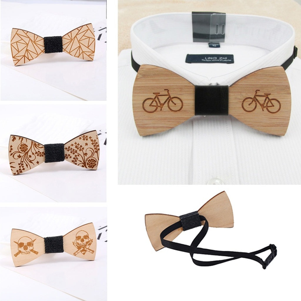 Men Novelty Party supply Bowtie Wooden Wedding Butterfly Ties Handmade Marriage Beauty