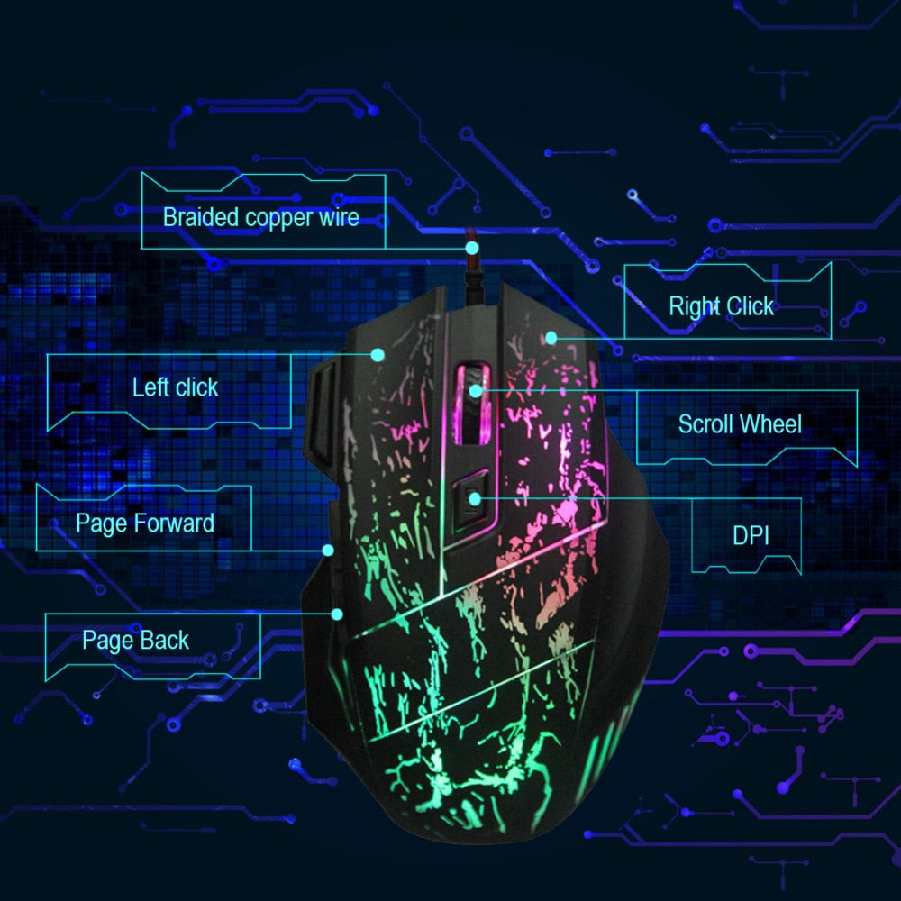 2018 New 5500dpi 7 Buttons Colors Led Optical Usb Wired Mouse Gamer Wiring Diagram Color Mice Computer Mause