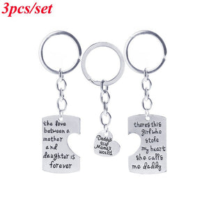 """The Love Between Mother and Daughter is Forever""Mother's Day Father's Day Gifts Keychain Keyring Family Jewelry Heart Pendant P"