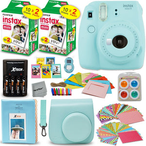 Fujifilm Instax Mini 9 Instant Camera (Ice Blue) + INSTAX Film (40 pack) + Custom Fitted Case + 4 AA Rechargeable Batteries & Ch