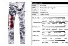 2014 Mens Fashion Jeans American flag stamp White Leisure Jeans Pomo Personality Slim Fit Trousers 29-44