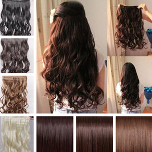 2017 Long New Women Hair Extensions Human Made Wavy Curly/Straight Synthetic Clip In On