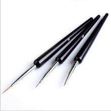 3 PCS Acrylic French Nail Art Design Painting & Dotting Pen Polish Brushes Black
