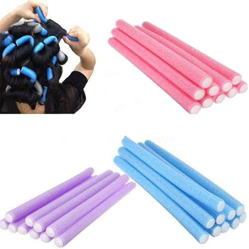 10Pcs Women's fashion Hair Beauty Curler Makers Soft Foam Bendy Twist Curls Tool DIY Styling Hair Rollers (Size: One Size, Color