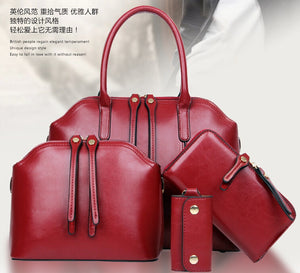 2015 new fashion Ms. retro oil wax leather bag portable diagonal package shoulder bag mother and child