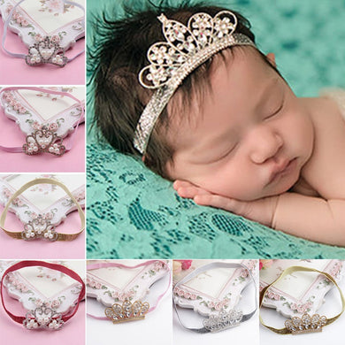1 PCS Cute Kawaii Crystal Crown Newborn Baby Kids Girl Pearl Hair Band Headwear Princess Hairband Hair Accessories