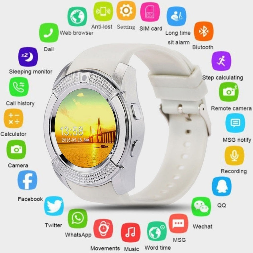 Smart Watch Bluetooth Smartwatch with Camera Touch Screen SIM Card Slot, Waterproof Phones Smart Wrist Watch Sports Fitness Comp