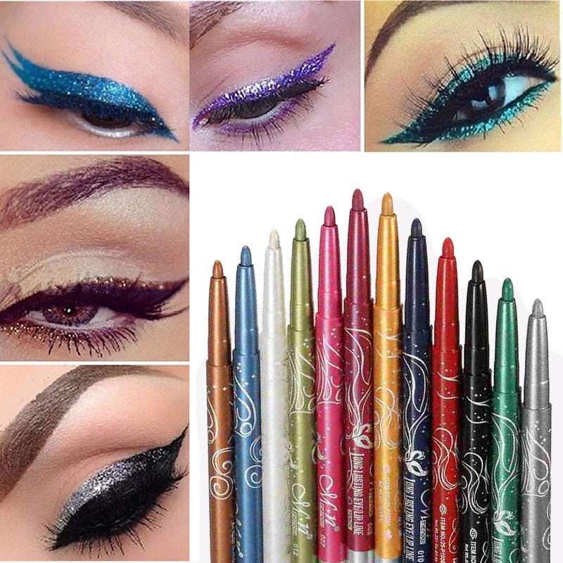12 Pcs/lot Eyeshadow Eyebrow Lip Eye Eyeliner Pen Pencil Makeup Cosmetic Set (Size: 12 Colors/Set)