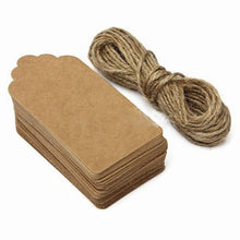 100pcs Kraft Paper Gift Tags Wedding Scallop Label Blank Luggage+Strings LIF