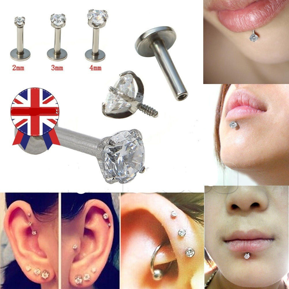 10 Stainless Steel Rhinestone Lip Labret Ring Stud Bar HOT (Color: Multicolor)