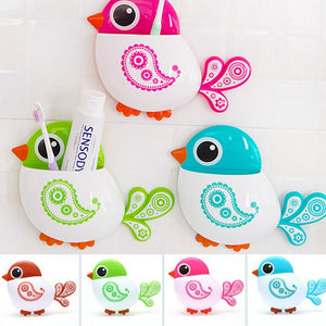 1Pcs Cute Cartoon Bird Toothbrush Holder Wall Suction Cup Pocket Bathroom Organizer Storage Make up Brush Holder WIJI
