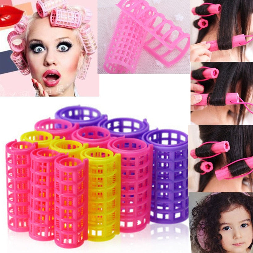 12 PCS Curler Roller Large Grip Cling Hair Styling Curler Hairdressing Tool WIQI