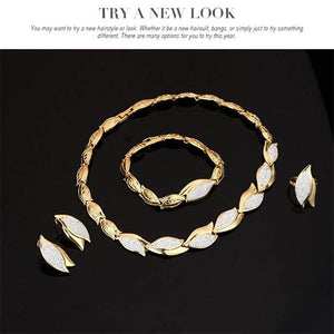 18K Gold Filled Crystals Costume Jewelry Charms Necklace Earrings Chain Bracelet Ring Leaf Set
