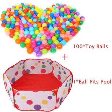 100 pcs Toy Balls+1 pc Ball Pool Children Tent Game Funny Baby Kid Swim Pit Toy Water Pool Ocean Wave Ball (Color: Multicolor)