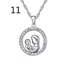 "100% Real Pure Sterling Silver ""Mother and Child Hand In Hand"" Pendant Necklace Gift for Mother Daughter Sister Grandmother Frie"