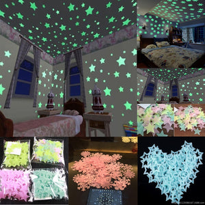 100pcs Fluorescent Wall Stickers Decal Glow Luminous  Stars Baby Kids Bedroom