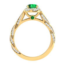 14K Yellow Gold Filled 1.20 ct Natural & Real Emerald Engagement Ring