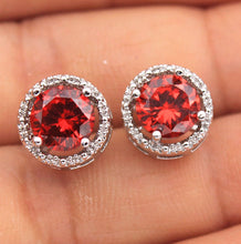 18K White Gold Filled - Round MYSTICAL Topaz Hollow Cocktail Gems Stud Earrings
