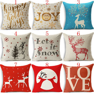 18 Inches Christmas Santa Claus Love Throw Pillowcase Home Decor Cotton Linen Cushion Cover Pillow Cover