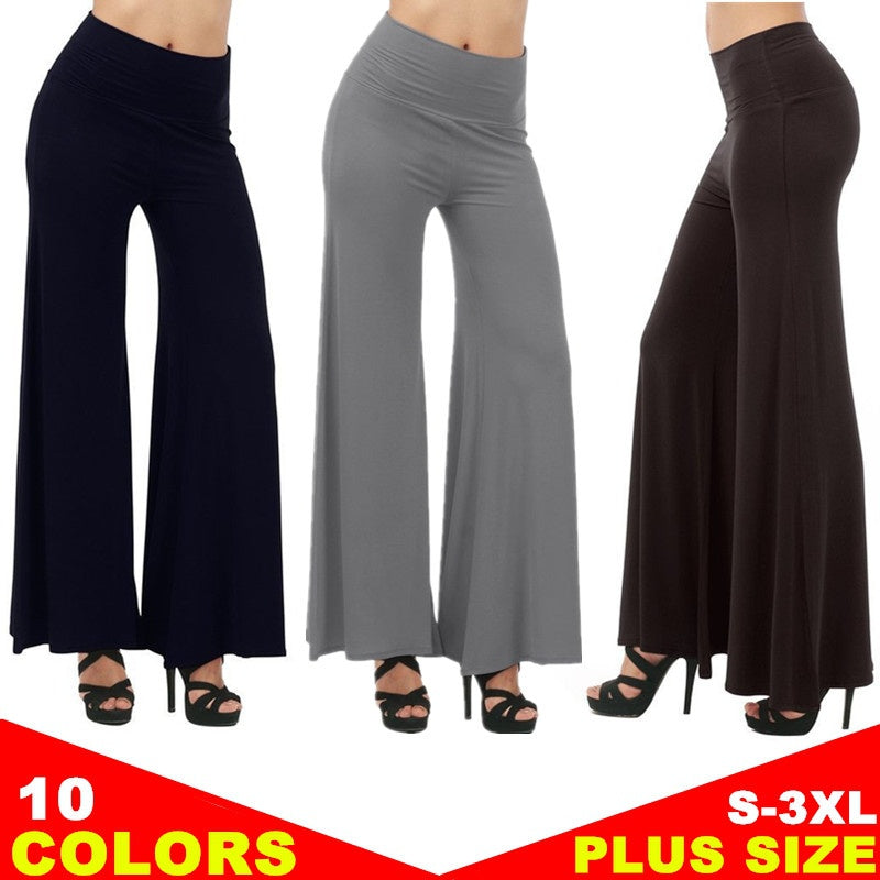 10 Colors Women's Fashion Wide Leg Comfy Yoga Dance Fold Down Waist Pants Plus Size