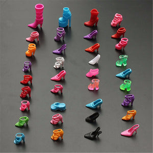 120pcs/60 Pairs Multiple Styles Different Fashion High Heel Shoes Boots Slippers for Barbie Doll Dresses Clothes DIY