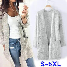 2016 New Autumn  Winter Long Sleeve Loose Casual Sweater Coat  Cardigan Coat Women Outwear (Size: S-5XL,Color:grey) LUL