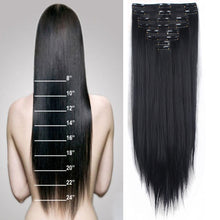 100% Real Natural Double Weft 8Piece Full Head Clip in Hair Extensions Long Straight Curly Wavy Black Brown Blonde Grey Hair Pie
