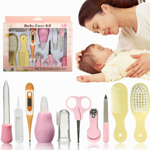 10PCS Newborn Baby Infant Kids Nail Hair Health Care Set Thermometer Grooming Soft Brush Kit (Size: Color Random)