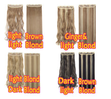 "1 Pcs 5 Clips  In Hair Extensions  24""(61cm)&29""(73cm) Curly 26"" And (66cm) &30''(76cm)Straight Black Brown Blond Hairpiece 3/4"