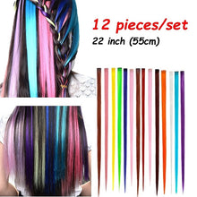 12 Pieces of 22 Inches Multi-Colors Party Highlights Clip In Synthetic Hair Extensions GG