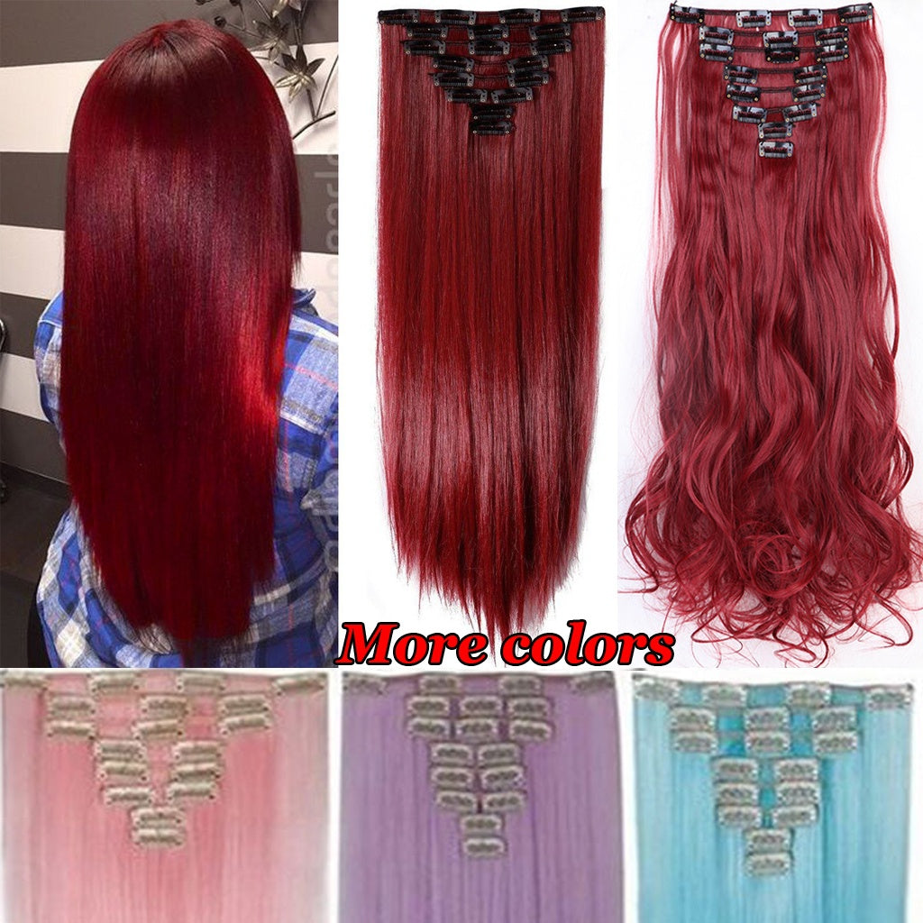 1set 8pcs 18clips Clip In Hair Extensions Long Straight Maroon Mix