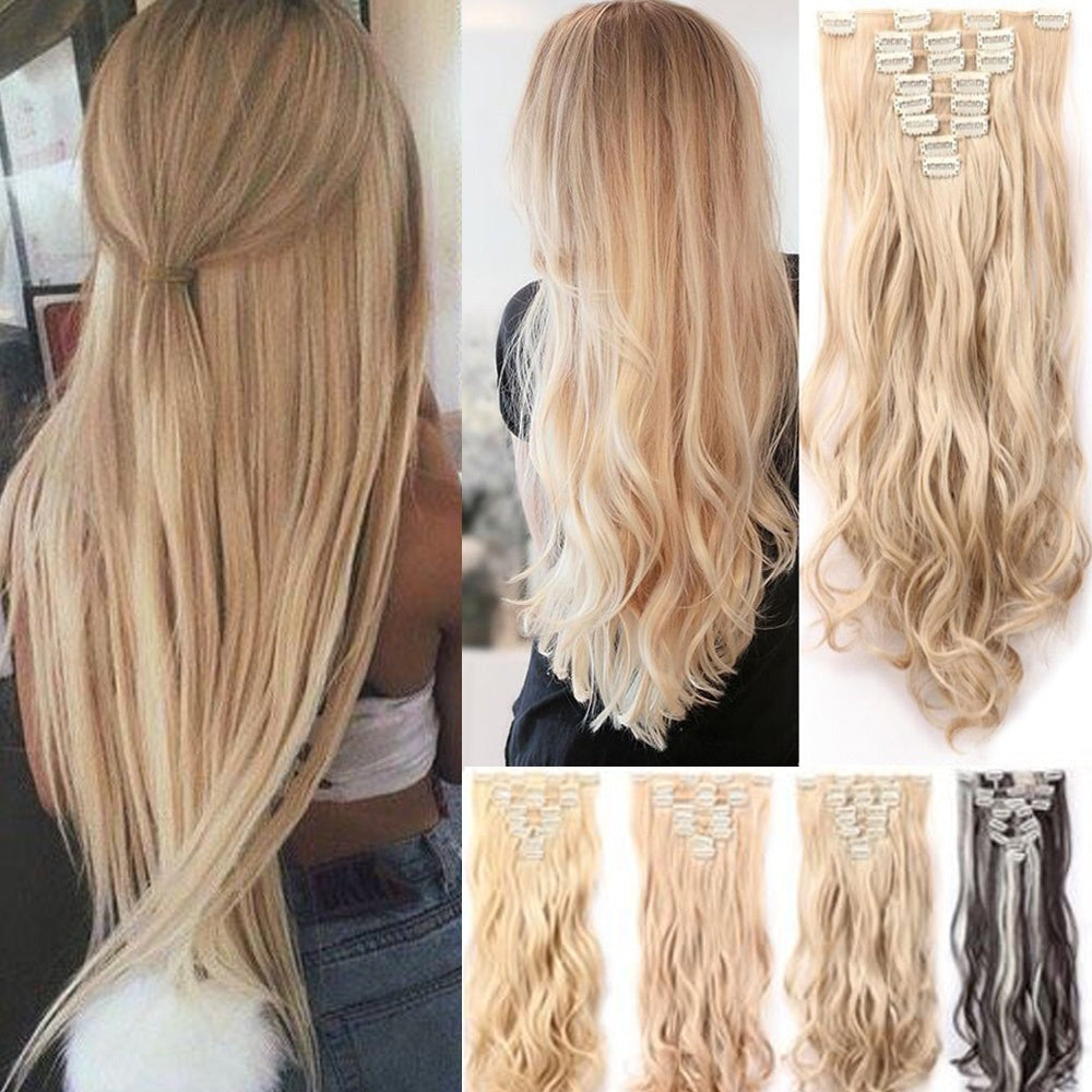 17 26 Inchs Straight Full Head Clip In Hair Extensions For Women
