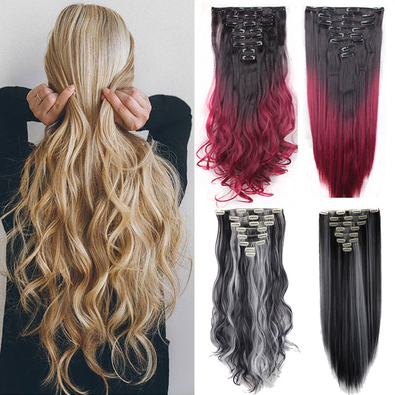 1724inch Sexy Long Curly Hair Extension Full Head Clip In Hair