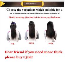 100% Remy Clip in Human Hair Extensions 15-20inch 7Pcs/Set 12colors (can be dyed straighten curly)