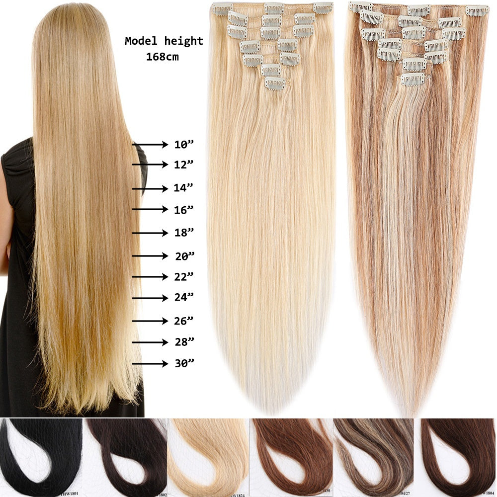 100 Remy Clip In Human Hair Extensions 15 20inch 7pcsset 12colors C
