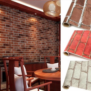 1 Pc Fashion Red/Grey/Coffee Realistic Bricks Rock Wall Paper Prepasted Adhesived Background Wallpaper Roll Wall Stickers Wall P