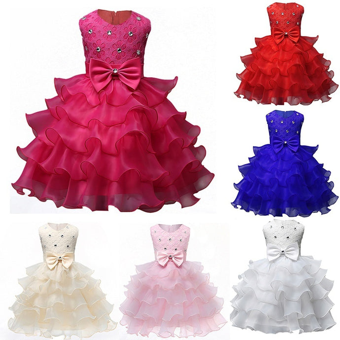 Fashion 2017 Baby Christening Girl Events Kids Ruffles Lace Dresses for Girls Princess Tutu Dress for Wedding Party Dress Wear G
