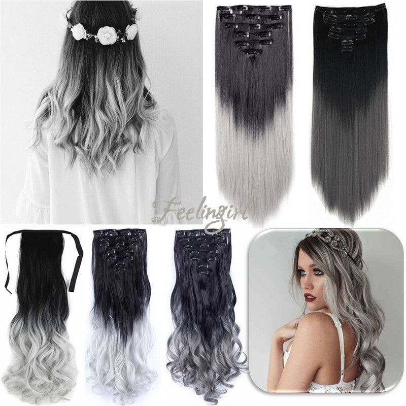 Neverland Womens Fashion Silver Gray Ombre Color Curly Straight